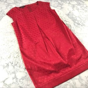 Nine West Red Geometric Jacquard Shift Dress EUC